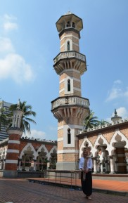 Al conservatively dressed at Masjid Jamek, Mosque