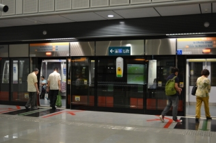 MRT - notice safety panels on platform to prevent travellers falling onto tracks