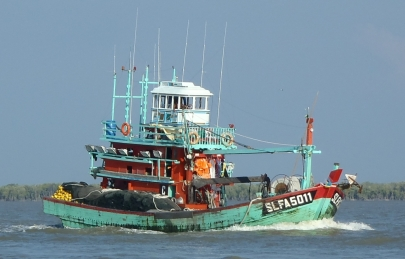 Fishing trawler in Sungai Bernam, Strait of Malacca