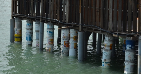 The Chew Jetty, Penang. Check out the method of building pylons. Concrete and buckets!