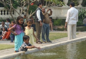 Children and visitors at the popular Garden of Dreams, Kathmandu