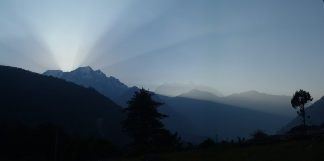 Dawn breaking over the impressive Annapurna I