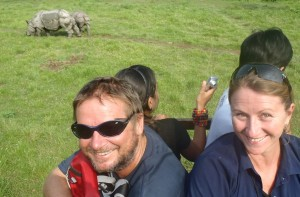 Up close and personal with a couple of rhinos on the elephant trek