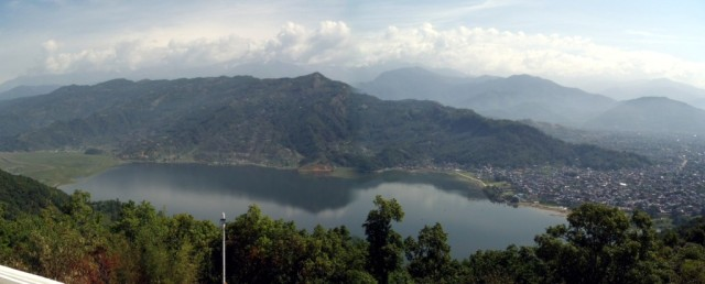 View overlooking Phewa Lake Pokhara. Macchapuchare (Fish Tail) is obscured by clouds.