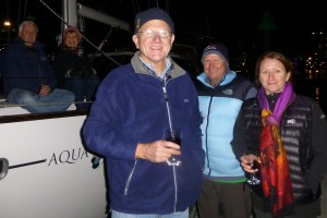 Brenton, Wayne, Ally et al all rugged up at Docklands for Friday night fireworks and great company