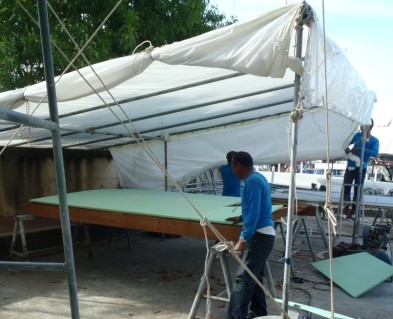 Bimini is made from fibreglass covered foam