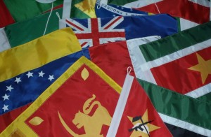 Courtesy flags for the trip across the Indian and Atlantic oceans