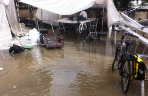 Hard stand flooded as workers seek refuge on the bimini roof!