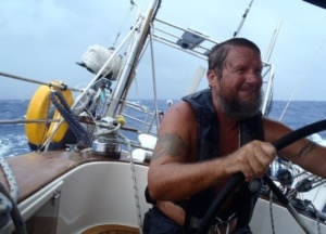 Wayne enjoying a lovely  sail in 30+ knots