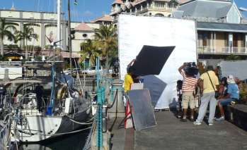 Movie making outside Blue Heeler at Caudan Waterfront