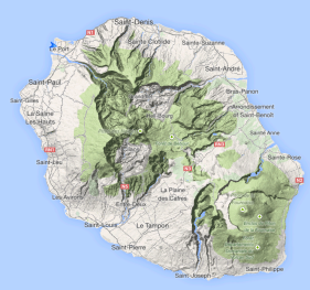 Topographical view of Reunion Island. Le Port on the NW corner; with the volcano in the SE corner. Mountains up to 3000m in the middle.