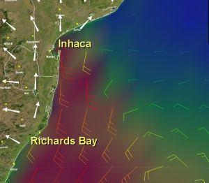 The GRIB file shows how quickly southern lows can blow up the coast of South Africa. The 'barbs' show 30knots between Richards Bay to Inhaca, but calm to the north east.