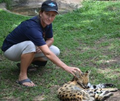 Ally with serval cat