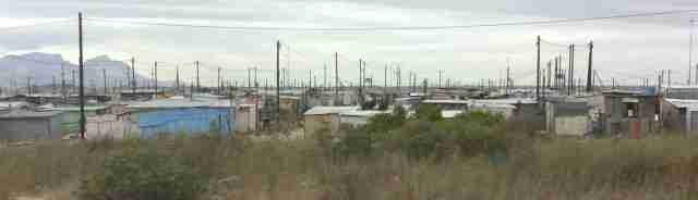 Electrical poles poke up from the dwellings within the Cape Flats area.