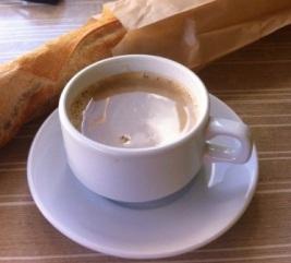 Baguette and cafe au lait, Deshaies