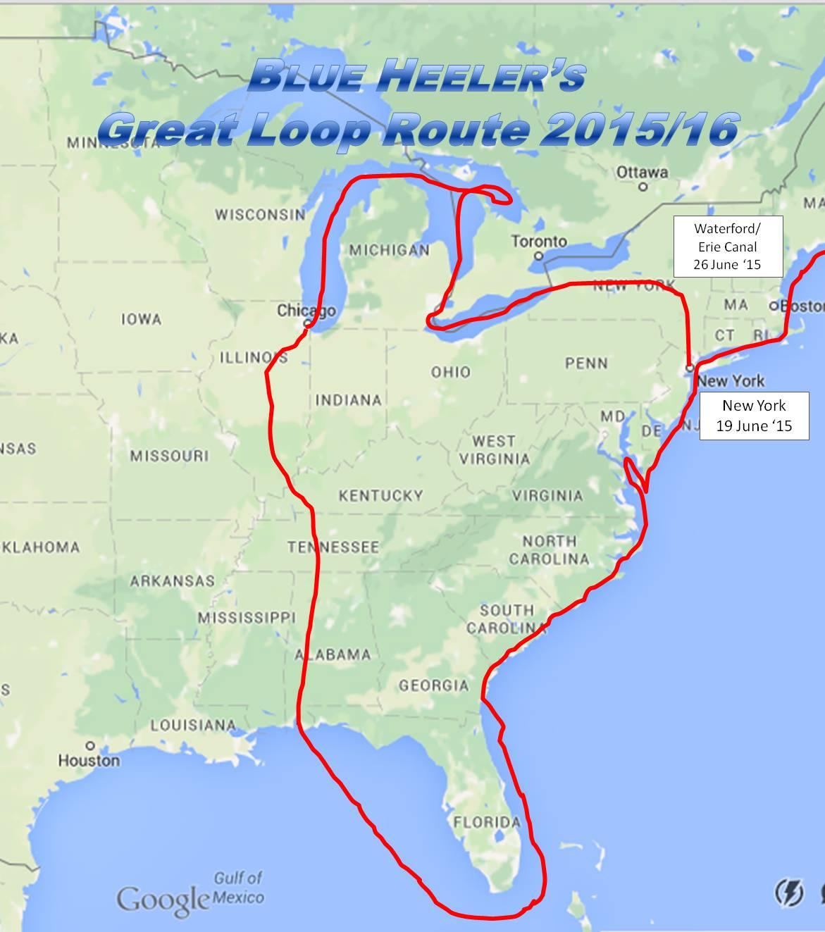 great loop map s v blue heeler