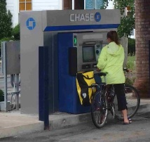 Drive in, I mean bike in ATM!