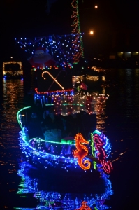 Christmas parade of boats on Dog River