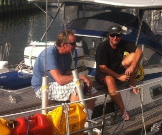 Kurt and Wayne enjoying a cold one after stepping the mast