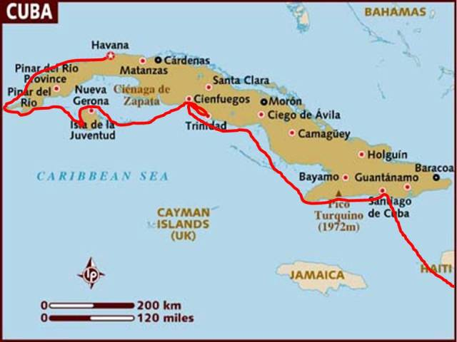 **Map from Lonely Planet with our route in red