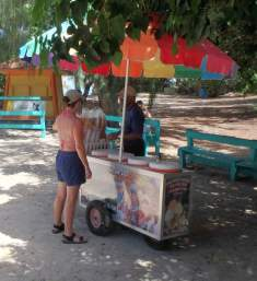 Ally sampling the local helados (ice cream) at Flamenco Beach