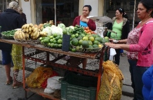 You can buy fruit and veg from street carts around major towns