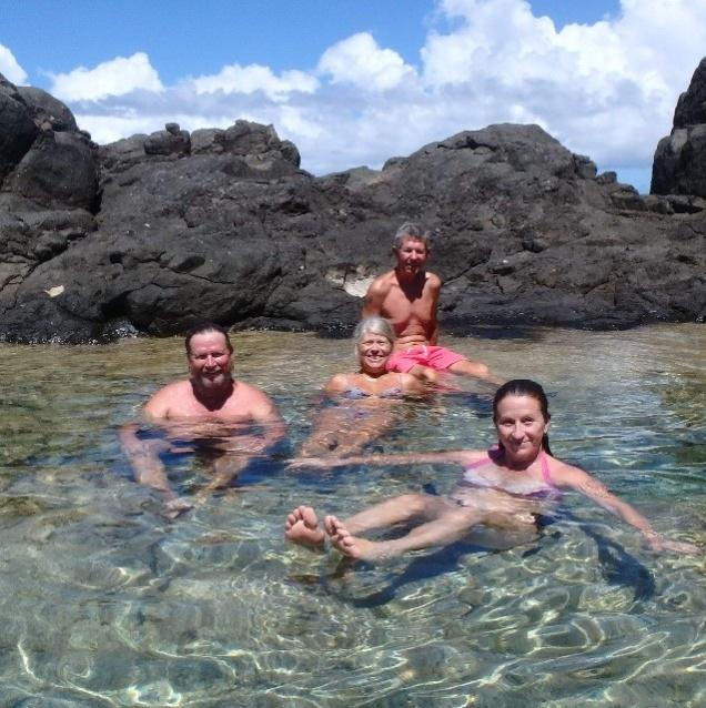 Wayne, Elisabet, Karl and Ally at the Jacuzzi, Culebrita