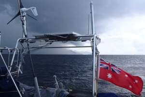 Sailing away from Chaguaramas, Trinidad