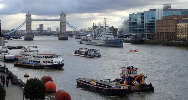 Busy Thames waterway