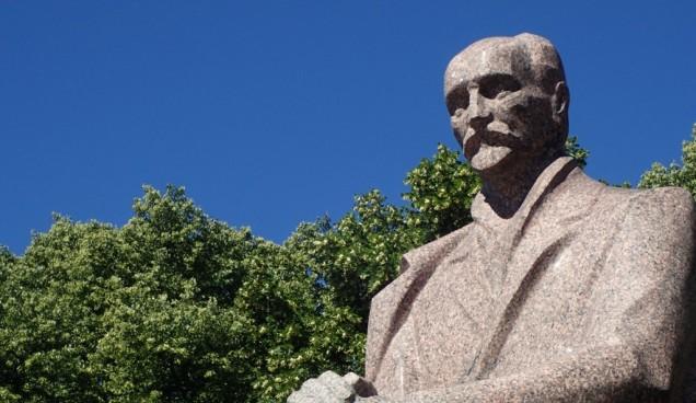 Statue of the Latvian poet Janis Rainis in Riga, Latvia