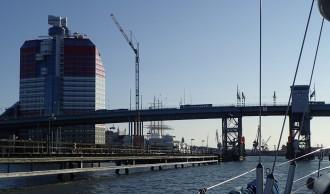 Approaching Goteborg's Gota Alv Bridge